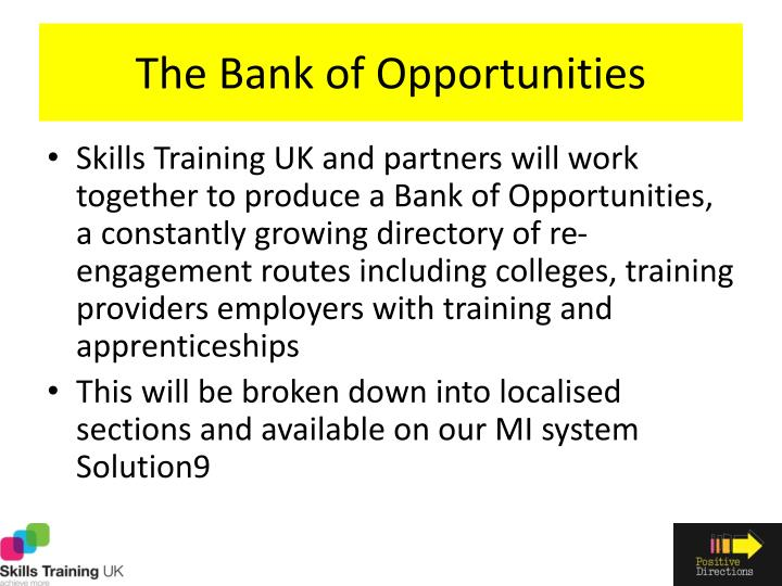 The Bank of Opportunities