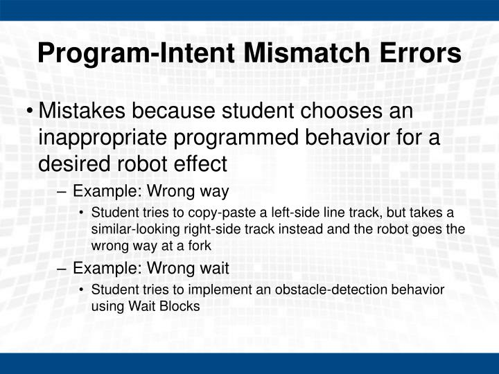 Program-Intent Mismatch Errors