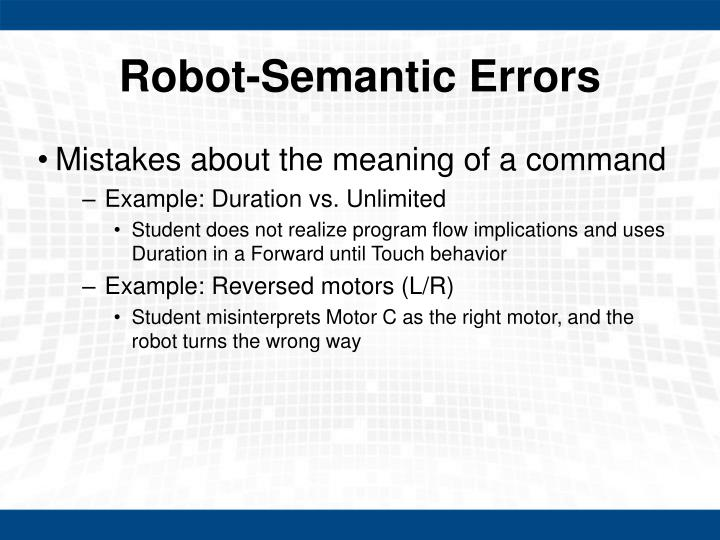 Robot-Semantic Errors