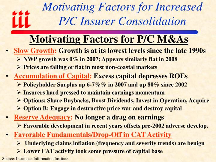 Motivating Factors for Increased P/C Insurer Consolidation