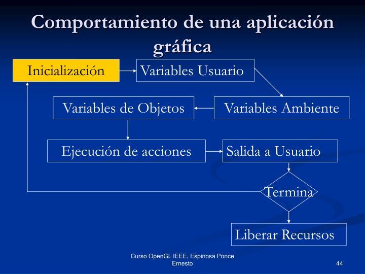 Comportamiento de una aplicación gráfica