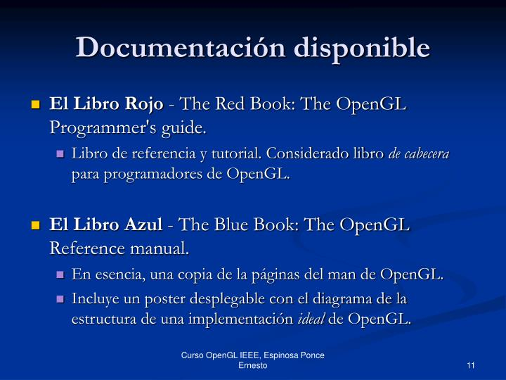 Documentación disponible