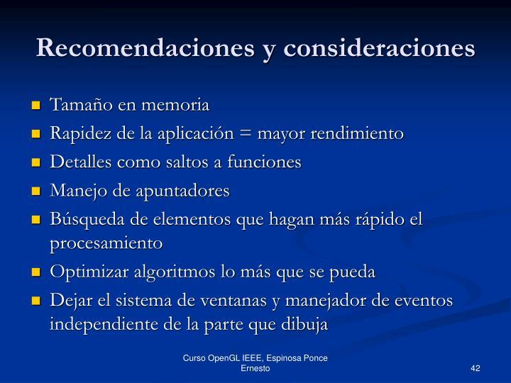 Recomendaciones y consideraciones