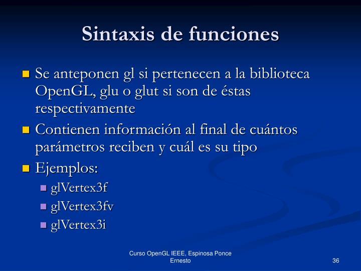 Sintaxis de funciones