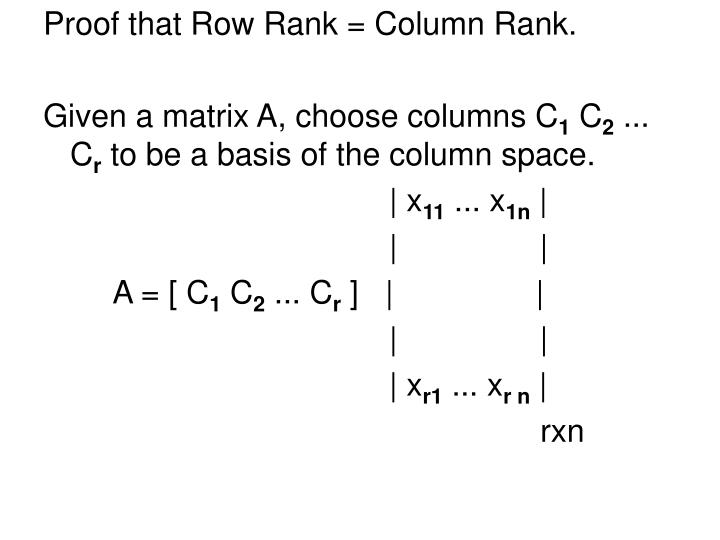 Proof that Row Rank = Column Rank.