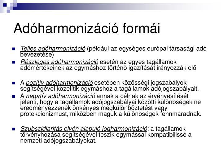 Adóharmonizáció formái