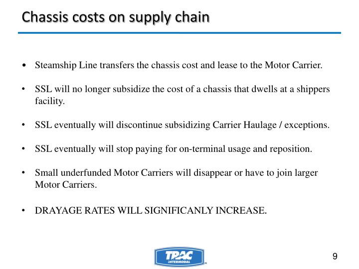 Chassis costs on supply chain