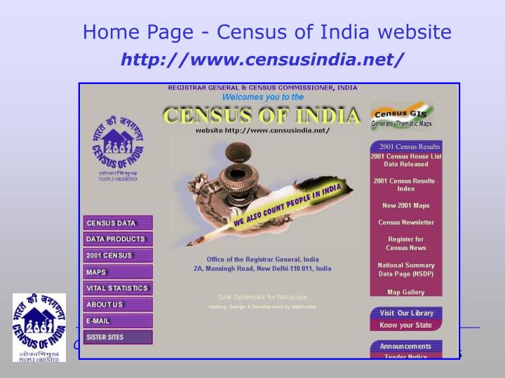 Home Page - Census of India website