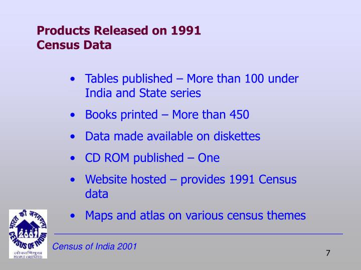 Products Released on 1991 Census Data