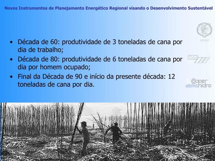 Década de 60: produtividade de 3 toneladas de cana por dia de trabalho;