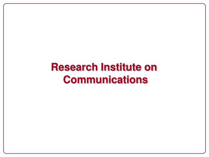 Research Institute on