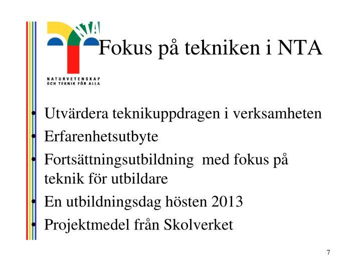 Fokus på tekniken i NTA