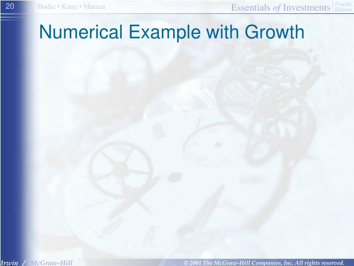 Numerical Example with Growth