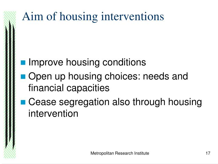 Aim of housing interventions