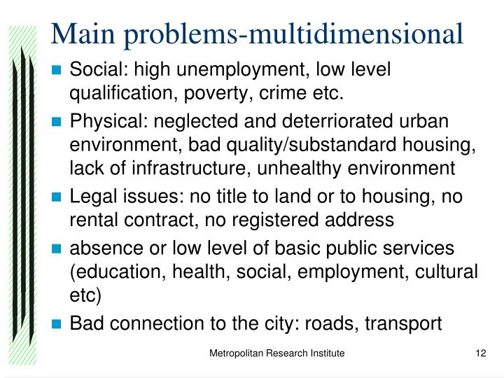 Main problems-multidimensional