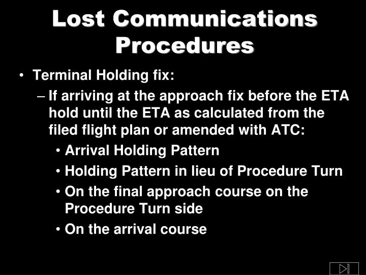 Lost Communications Procedures
