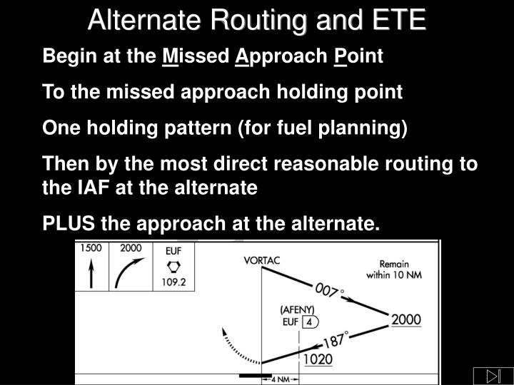 Alternate Routing and ETE