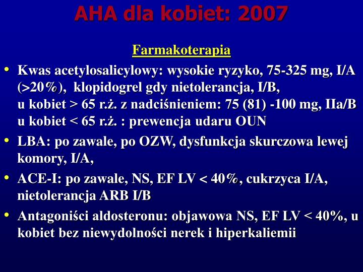 AHA dla kobiet: 2007