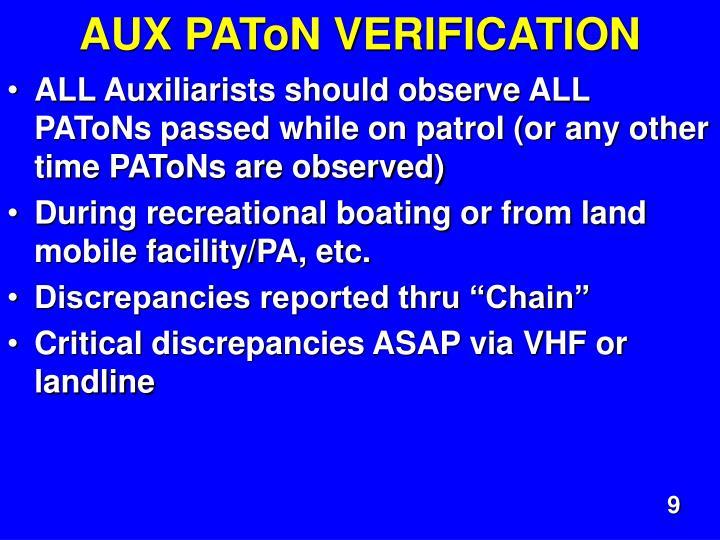 AUX PAToN VERIFICATION