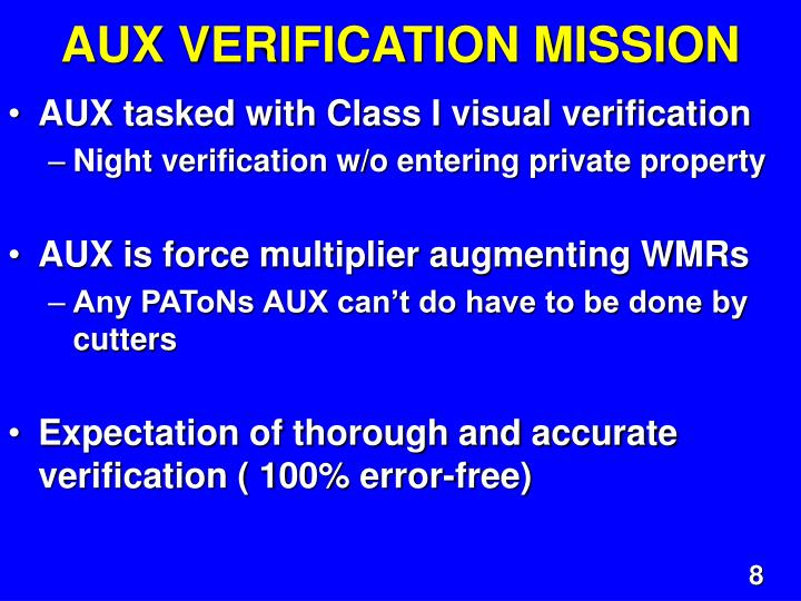 AUX VERIFICATION MISSION