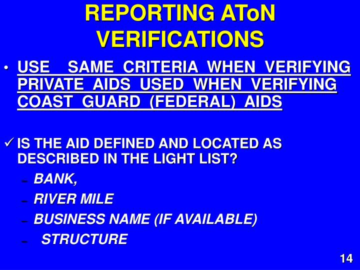 REPORTING AToN VERIFICATIONS