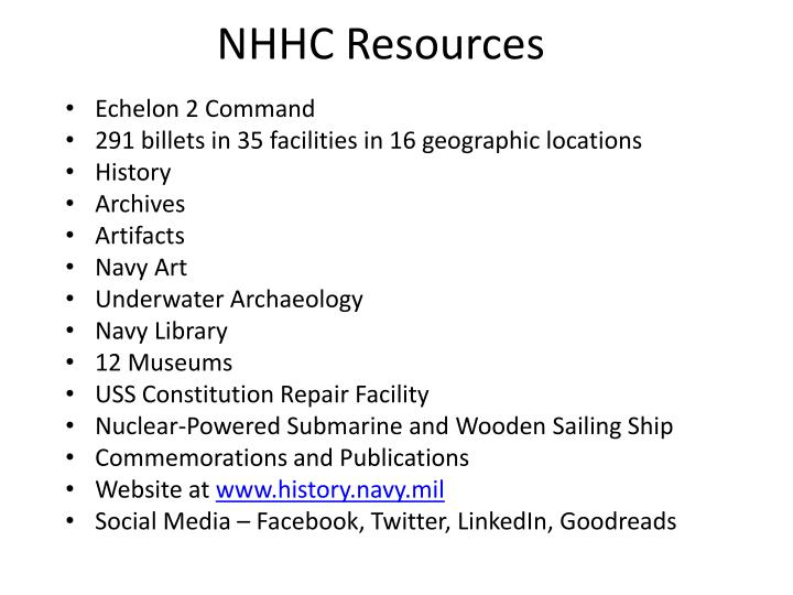 NHHC Resources