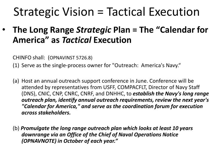 Strategic Vision = Tactical Execution