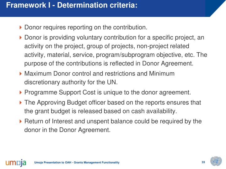 Framework I - Determination criteria: