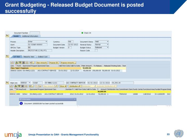 Grant Budgeting - Released Budget Document is posted successfully