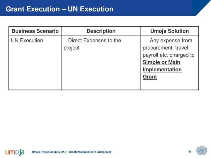Grant Execution – UN Execution
