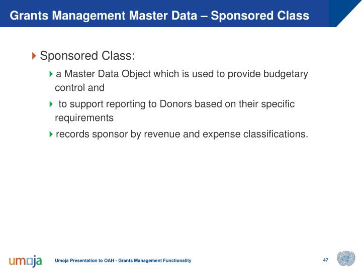 Grants Management Master Data – Sponsored Class