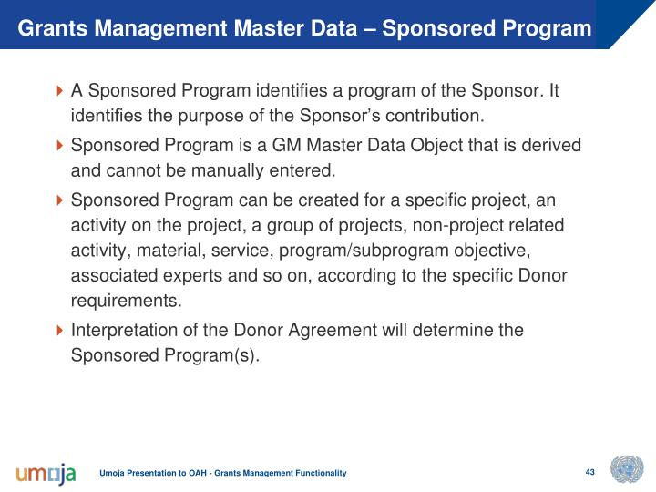 Grants Management Master Data – Sponsored Program