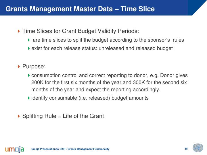 Grants Management Master Data – Time Slice