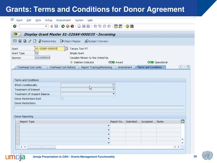 Grants: Terms and Conditions for Donor Agreement
