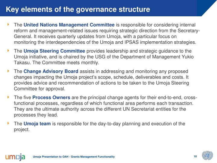 Key elements of the governance structure