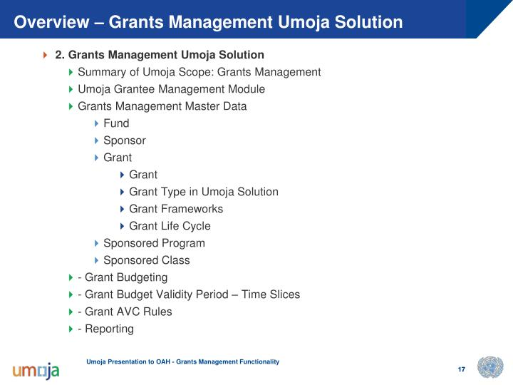Overview – Grants Management Umoja Solution