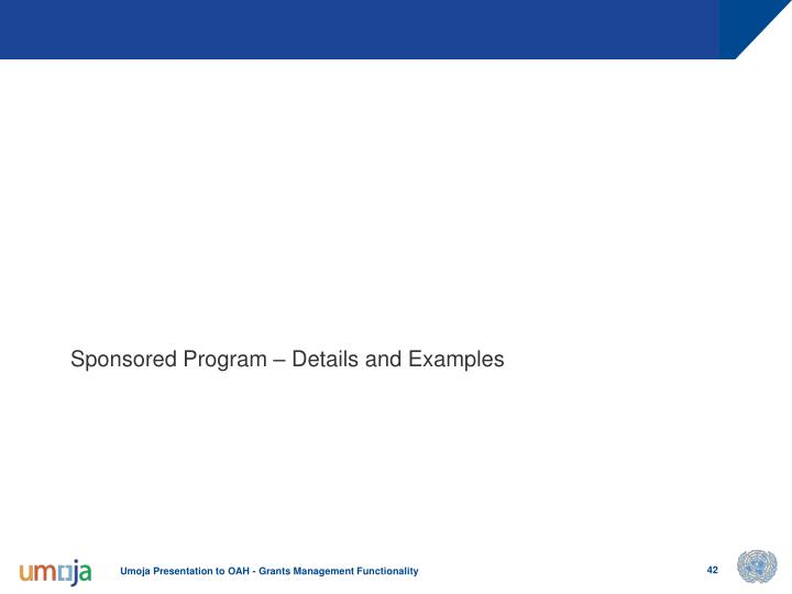 Sponsored Program – Details and Examples