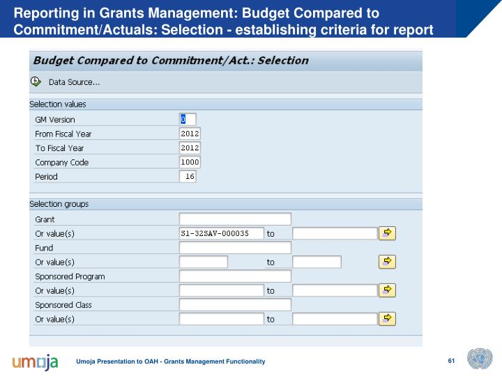 Reporting in Grants Management: Budget Compared to Commitment/Actuals: Selection - establishing criteria for report