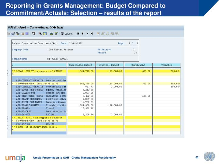 Reporting in Grants Management: Budget Compared to Commitment/Actuals: Selection – results of the report