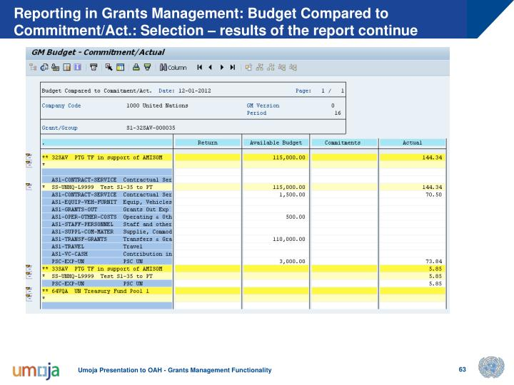 Reporting in Grants Management: Budget Compared to Commitment/Act.: Selection – results of the report continue