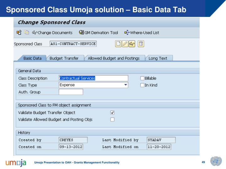 Sponsored Class Umoja solution – Basic Data Tab