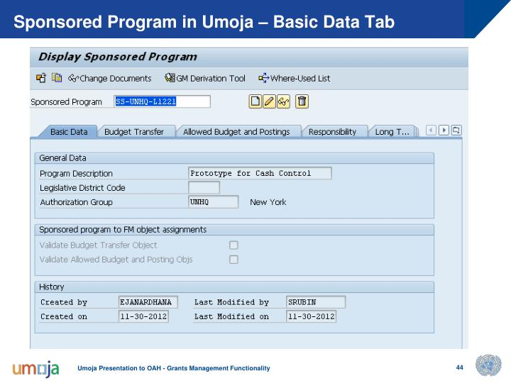 Sponsored Program in Umoja – Basic Data Tab