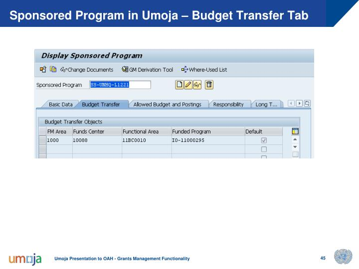 Sponsored Program in Umoja – Budget Transfer Tab