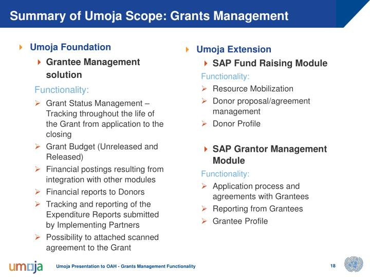 Summary of Umoja Scope: Grants Management