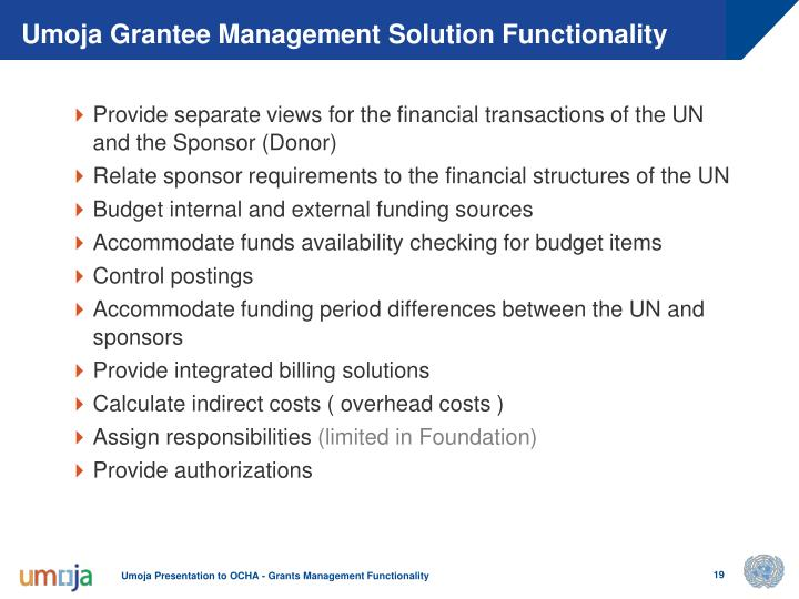 Umoja Grantee Management Solution Functionality