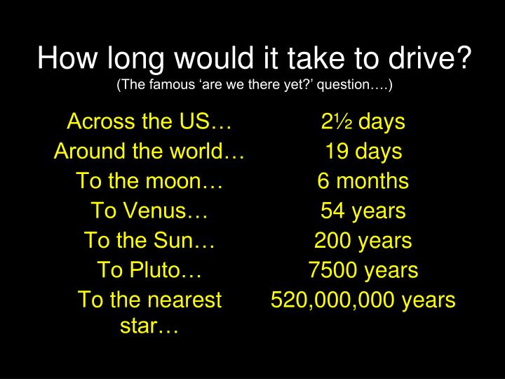 How long would it take to drive the famous are we there yet question