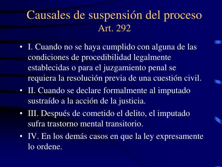 Causales de suspensión del proceso