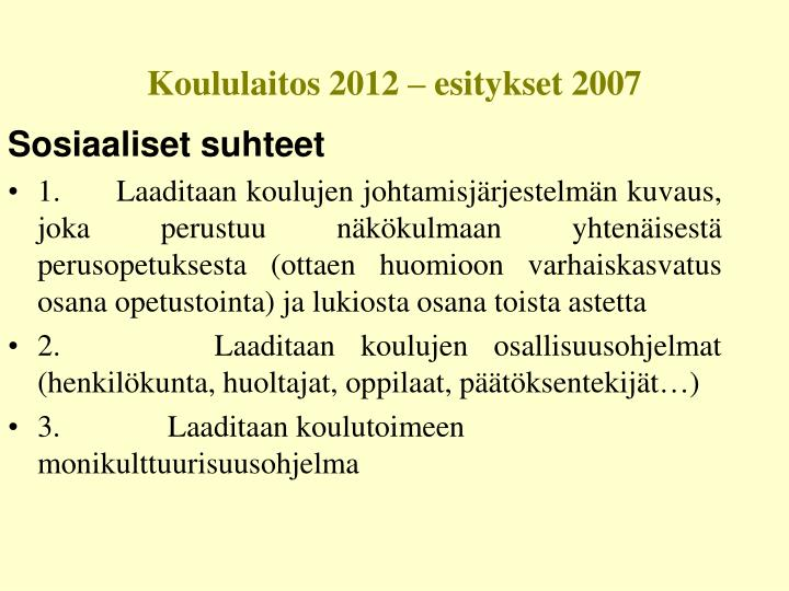 Koululaitos 2012 – esitykset 2007