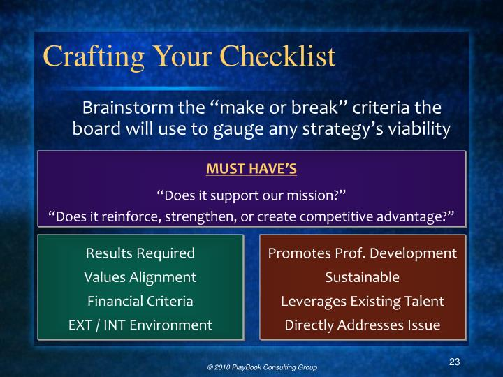 Crafting Your Checklist