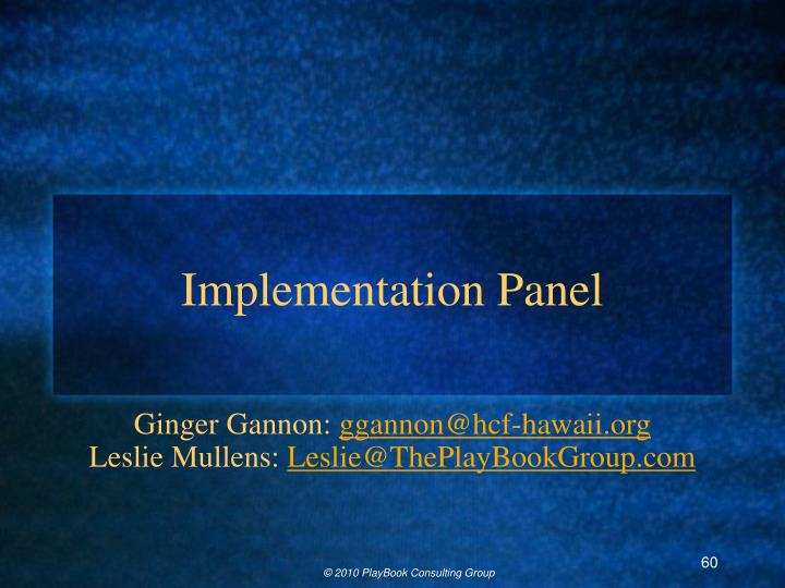 Implementation Panel